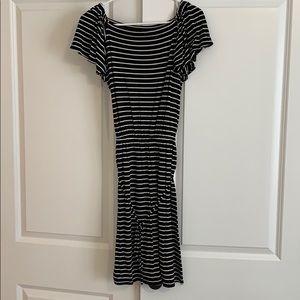 Loft casual black and white striped dress